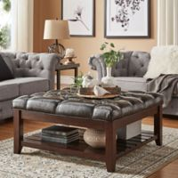 Verona Home April Button Tufted Linen Cocktail Table in Brown