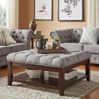 Verona Home April Button Tufted Linen Cocktail Table in Grey