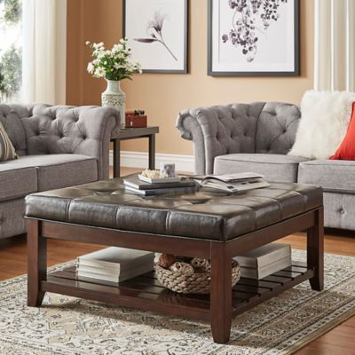 Attractive Verona Home April Tufted Linen Cocktail Table In Brown
