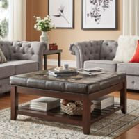 Verona Home April Tufted Linen Cocktail Table in Brown