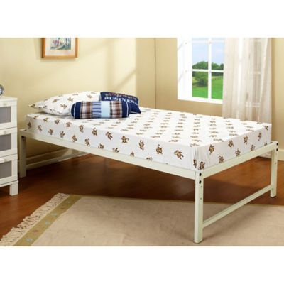 KB Furniture Hi Riser Metal Platform Bed In White