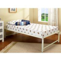 K&B Furniture Hi-Riser Metal Platform Bed in White