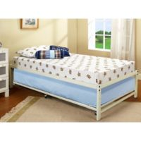 K&B Furniture Hi-Riser Metal Bed with Pop-Up in White