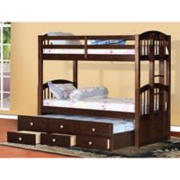 K&B Furniture Twin Over Twin Bunk Bed with Trundle and Storage Drawers in Espresso