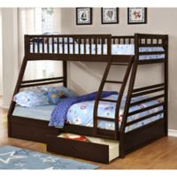 K&B Furniture Twin Over Full Bunk Bed with Storage Drawers in Espresso