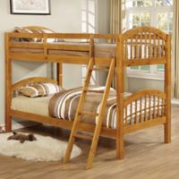 K&B Furniture Arched Twin Bunk Bed in Honey Oak