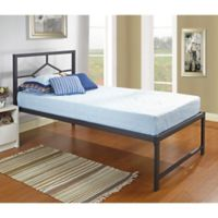 K&B Furniture Twin Metal Daybed with Headboard in Black