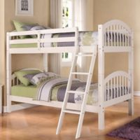 K&B Furniture Arched Twin Over Twin Bunk Bed in White