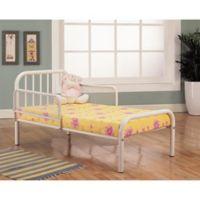 K&B Furniture Toddler Metal Bed in White