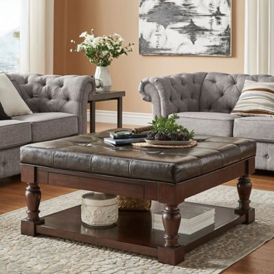 Verona Home Annie Tufted Cocktail Table Ottoman In Brown
