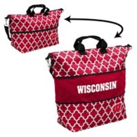 University of Wisconsin Quatrefoil Expandable Tote in Red