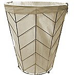 Tapered Round Metal Herringbone Hamper in White/Gold