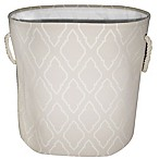 Oval Lattice Hamper with Rope Handles in Tan
