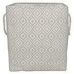 Nomad Ikat Rectangular Hamper with Rope Handles in Tan