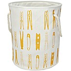 Round Clothespin Hamper with Rope Handles in Gold/White