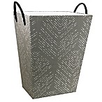 Rectangular Tapered Hamper with Faux Leather Handles in Grey/White
