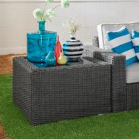 Verona Home Brescia All-Weather Wicker Glass-Top End Table in Charcoal