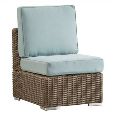 Verona Home Brescia All Weather Wicker Armless Chair With Cushions In Mocha/ Blue