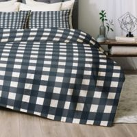 Deny Designs Navy Check Queen Comforter Set