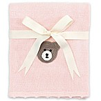 Elegant Baby® Cotton Knit Blanket with Crochet Bear in Pink
