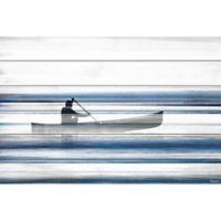 Parvez Taj Blue Lake Canoe 24-Inch x 16-Inch Pinewood Wall Art