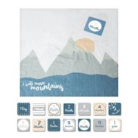 "Lulujo Baby ""Move Mountains"" Muslin Swaddle Blanket and Cards Set in White/Multicolor"