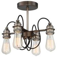 Minka-Lavery® Uptown Edison 4-Light Semi-Flush Ceiling Light in Bronze/Pewter