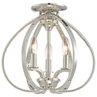 Minka-Lavery® Tilbury 3-Light Semi-Flush Mount Fixture in Polished Nickel