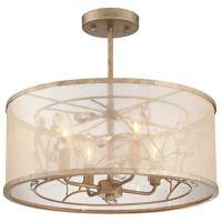 Minka-Lavery® Sara's Jewel 4-Light Semi-Flush Pendant in Gold/Silver with Shade