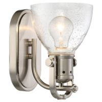 Minka-Lavery Simple 1-Light Wall-Mount Bath Fixture in Brushed Nickel with Clear Seeded Glass Shade