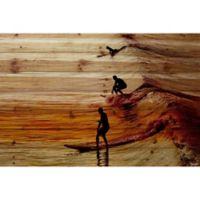 Parvez Taj Surfing the Wave 60-Inch x 40-Inch Pinewood Wall Art