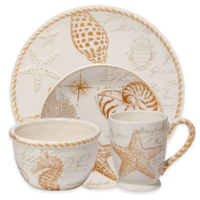 certified coastal discoveries 16piece dinnerware set in ivorygold