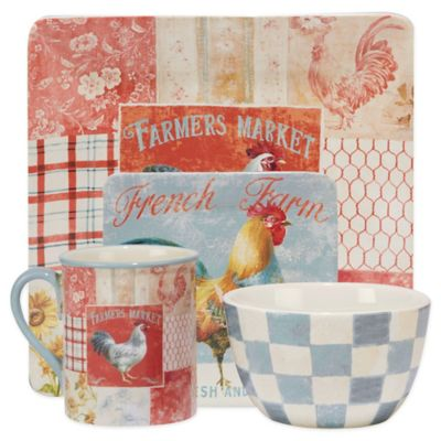 Certified International Farm House Rooster 16-Piece Dinnerware Set  sc 1 st  Bed Bath \u0026 Beyond & Buy Rooster Pattern Dinnerware from Bed Bath \u0026 Beyond
