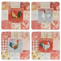 Certified International Farm House Rooster Dinner Plates (Set of 4)