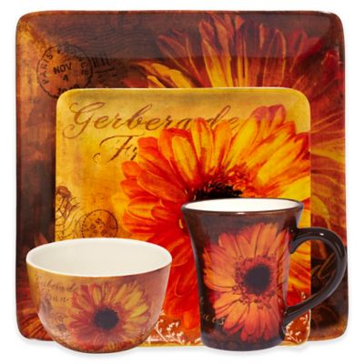Certified International Gerber Daisy 16-Piece Dinnerware Set & Buy Nature Dinnerware from Bed Bath \u0026 Beyond