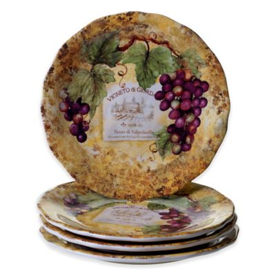 certified gilded wine dinner plates set of 4