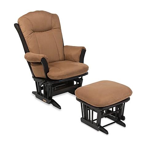 Dutailier Comfort Plus Reclining Sleigh Glider U0026 Ottoman   Easy Rider  Buckskin Fabric/Espresso Wood