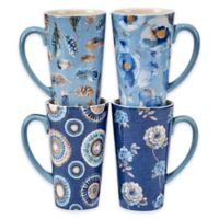 Certified International Indigold Lisa Mugs in Blue (Set of 4)