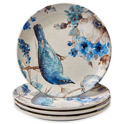 Certified International Indigold Bird Dinner Plates (Set of 4)  sc 1 st  Bed Bath \u0026 Beyond : blue and white plate set - pezcame.com