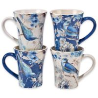 Certified International Indigold Bird Mugs (Set of 4)
