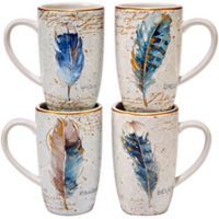 Certified International Indigold Feathers Mugs (Set of 4)