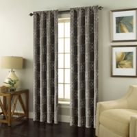 Valencia 84-Inch Rod Pocket Embroidered Window Curtain Panel in Charcoal
