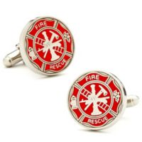 Cufflinks, Inc. Silver-Plated and Red Enamel Firemen's Shield Cufflinks