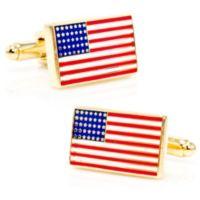 Cufflinks, Inc. Goldtone-Plated Square American Flag Cufflinks