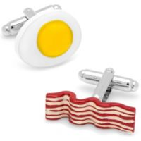 Cufflinks, Inc. Silver-Plated and Enamel Bacon and Egg Cufflinks