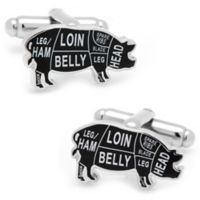 Cufflinks, Inc. Silver-Plated and Enamel Pork Butcher Cut Cufflinks