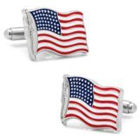 Cufflinks, Inc. Silver-Plated and Enamel Waving Flags Cufflinks