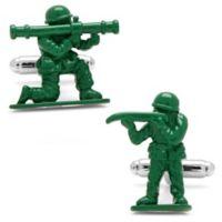 Cufflinks, Inc. Silver-Plated and Green Enamel Army Men Cufflinks