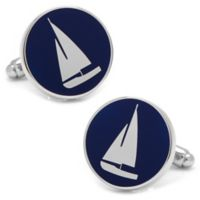 Cufflinks, Inc. Silver-Plated and Blue and White Enamel Sailboat Cufflinks