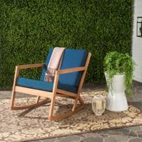 Safavieh Vernon All Weather Wood Rocking Chair in Teak Brown/Navy